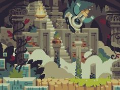 """""""Background art from Curses 'N Chaos by tributegames, pixeled to perfection by Stéphane Boutin a.k.a. jgsboutain."""" on Retronator"""