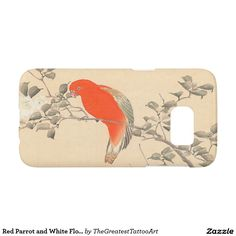 Red Parrot and White Flower Matsumoto Keibun Samsung Galaxy S7 Case