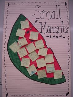 """How to Write """"Small Moment"""" stories. includes pictures of the anchor chart she created! LOVE how she used a watermelon to teach the concept! This a perfect visual for our personal narratives Kindergarten Writing, Teaching Writing, Writing Activities, Teaching Ideas, Help Teaching, Writing Resources, School Resources, Literacy, Personal Narrative Writing"""