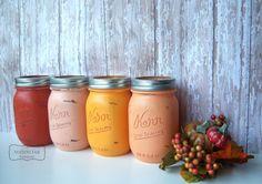 Pumpkin Harvest,  Fall, Mason Jars, Painted Mason Jars,Wedding Decor,Wedding Decorations,Bridal Shower, Table Settings, Decor, Hostess Gift on Etsy, $24.00