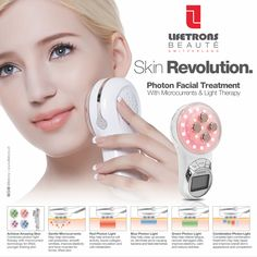 This device combines therapeutic photon lights with EMS technology to rejuvenate your skin for a more radiant and younger appearance. Gentle EMS currents may help contour and firm skin while boosting elastin. Red light may help reduce the appearance of fine lines and wrinkles while brightening the complexion and boosting collagen. Blue light may help control sebum production and fight acne. Green light may help calm skin inflammation.