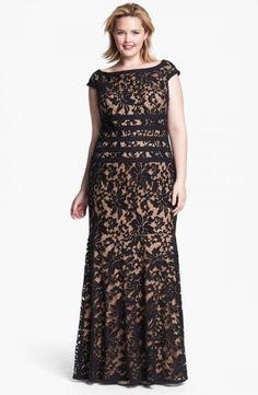 tadashi shoji black lace dress plus size gown