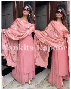 👗 *Top fabric- Heavy Faux Georgette with inner* *Type- Semi-stiched (up to 👖 *:-Heavy Georgette with Embroidery work* *Type:- Full stiched(up to 🧣 *Duptta:- Heavy Georgette& Gotapatti work with fancy lace border* *Type:- cut Full sleeve Bollywood Suits, Indian Bollywood, Bollywood Fashion, Ethnic Suit, Indian Party Wear, Salwar Kameez, Salwar Suits, Sharara Suit, Online Dress Shopping