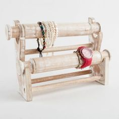 This limed oak bracelet stand has two tiers, shaped like two rolling pins. This wooden stand is a great addition to any jewellers or boutique Jewellery Displays, Bracelet Display, Watch Display, Bracelet Watch, Centre, Lime, Bracelets, Beautiful, Jewelry