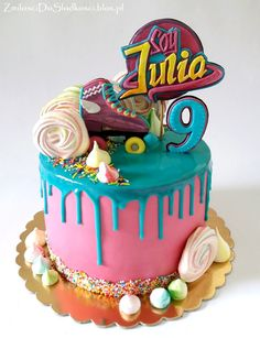 Soy Luna - Drip cake :) Roller Skating Party, Skate Party, Buttercream Decorating, Buttercream Cake, Soy Luna Cake, Cupcakes, Cupcake Cakes, Roller Skate Cake, Drippy Cakes