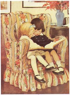 "Vintage illustration | ""Reading"", by Jessie Wilcox Smith. 