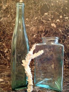 Set of 2 light aqua Ocean decorative glass bottles by StonedGypsy, $30.00