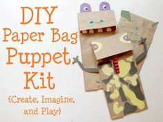 DIY Paper Bag Puppet Kit- a great boredom buster, rainy day activity or gift. It combines arts and crafts, pretend play, and storytelling! Diy Paper Bag, Paper Bag Crafts, Paper Bags, Paper Crafting, Rainy Day Activities, Craft Activities For Kids, Craft Ideas, Craft Art, Spring Crafts For Kids