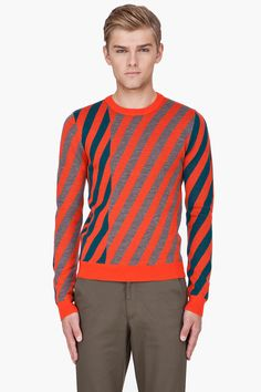 OPENING CEREMONY Red Wool Jagged Stripe Sweater