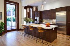 Dark kitchen cabinets white countertop