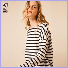 Cheap tee top, Buy Quality women t-shirt directly from China t-shirt striped Suppliers: Toyouth T-Shirts 2017 Spring Women T-Shirt Stripe Printed Loose Base Casual Long Sleeve O-Neck Tees Tops Striped Top Outfit, Striped Tee, News Fashion, Street Fashion, China Wholesale Clothing, Women Sleeve, Striped Fabrics, Cheap T Shirts, Plus Size Womens Clothing