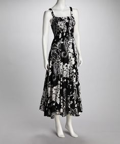 Take a look at this Black & White Floral Smocked Maxi Dress by Color Wheel: Women's Apparel on #zulily today!
