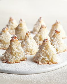 This classic cookie takes on the shape of a snow-dusted evergreen. Sugar-Dusted Macaroon Trees
