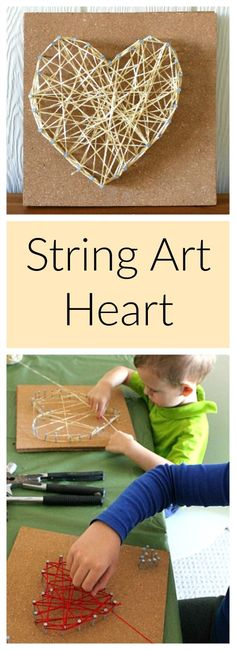 Such a fun art activitiy for preschoolers - string heart art! Perfect for Valentines Day!