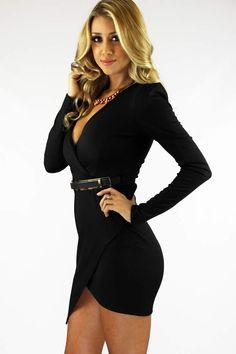 Elsie Bodycon Dress - Black Shop:WWW.LUSHFOX.COM