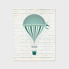 Teal Green Hot Air Balloon Printable Art by PaperCanoePrintables