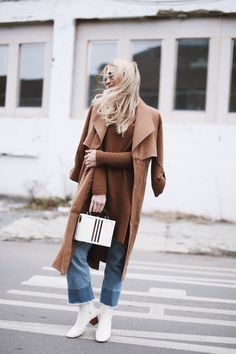 Le Fashion Blog Brown Trench Coat Brown Knit Sweater Cropped Jeans White Boots Via Happily Grey