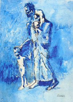 The Family of Blind Man Pablo Picasso 1903 Blue Period Dimensions: 37.5 x 27 cm