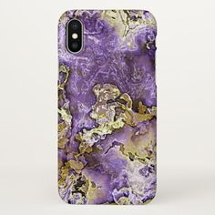 Violet Purple Faux Gold Minerals Agate Pattern iPhone X Case - gold gifts golden customize diy