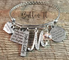 Mother of the GROOM gift, Thank you for raising the man of my dreams, MOTHER wedding keepsake, adjustable braided bangle bracelet, pendant: Handmade Mother Of The Groom Gifts, Mother In Law Gifts, Mother Of The Bride, Gifts For Mom, Bangle Bracelets With Charms, Bangles, Personalized Jewelry, Custom Jewelry, Wedding Keepsakes