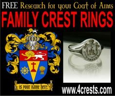 Family Crest Rings / Coat of Arms Rings available at WWW.4CRESTS.COM starting from $189
