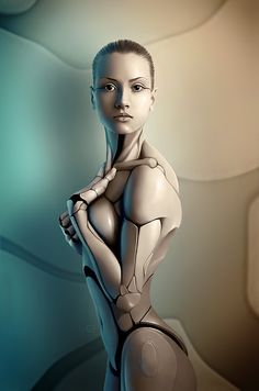Robot Illustrations by California based digital artist Michael Oswald. Michael created a series of robotic structures from human beings in his unique style of photo manipulation. Chica Cyborg, Science Fiction, Cyborg Girl, Tutorial Photoshop, Photoshop Tips, Robot Illustration, Robot Girl, Ex Machina, Blade Runner