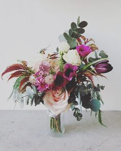 Nicely unruly and lush. Love the balance between teh foliage and the flowers. Grace and thorn  Gabriella's bridal bouquet. #graceandthornweddings