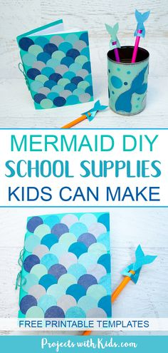 Kids will love making these adorable mermaid diy back to school supplies! Make a mermaid scales notebook, a mermaid pencil holder and adorable mermaid tail pencil toppers. A fun back to school craft. Tumblr School Supplies, Diy Back To School Supplies, Back To School Crafts, Diy Supplies, Mermaid Crafts, Mermaid Diy, Mermaid Scales, Diy Tumblr, Craft Projects For Kids