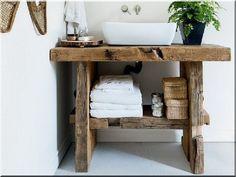 Antik fából fürdőszobapult Loft Furniture, Rustic Furniture, Industrial Loft, Small Bathroom, Bathrooms, Wabi Sabi, Vintage Designs, Interior Decorating, Sweet Home
