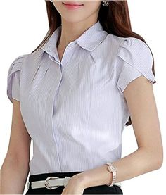 Women Cotton Collared Pleated Button Down Shirt Tulip Sleeve Blouse Tulip Sleeve, Pleated Shirt, Stylish Dress Designs, Professional Dresses, Work Shirts, Skirts With Pockets, Blouse Styles, Short Sleeve Blouse, Button Down Shirt