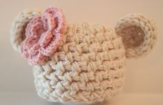 Crochet Baby Girl Bear Beanie Off White with Pink Flower  Newborn 0-3 and 3-6 Months Photography
