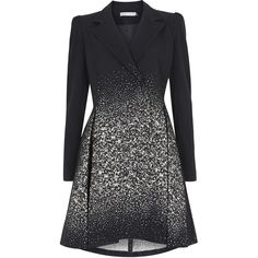 Alice + Olivia Carth Black Ombré Flared Wool Blend Coat ($445) ❤ liked on Polyvore featuring outerwear, coats, jackets, dresses, alice + olivia, flare coat, pleated coat, ombre coat, wool blend double breasted coat and alice olivia coat