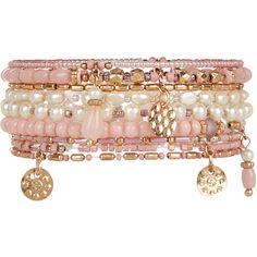 Accessorize 10 x Rose Eclectic Stretch Bracelet ($16) ❤ liked on Polyvore featuring jewelry, bracelets, pink, boho bracelet, charm bangle, bracelet bead charms, pink stretch bracelet and bead bracelet