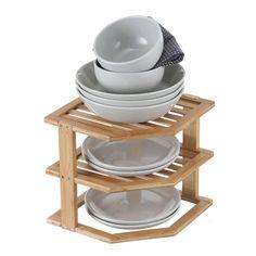 Bamboo 3-Tier Corner Cabinet Pantry Shelf Stacker - Howards Storage World Folder Organization, Kitchen Organisation, Draining Board, Howard Storage, Spice Shelf, Corner Pantry, Linen Cupboard, Plate Display, Dish Racks
