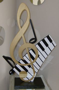 Abstract Gold Cleft & Piano Keys Music Table Sculpture
