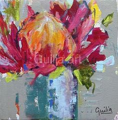 Little Proteas 1 by Julia Forman Acrylic ink ~ 200 x 200 Flower Painting Canvas, Flower Artwork, Diy Canvas Art, Abstract Flowers, Painting Flowers, Art Flowers, Watercolor Flowers, Protea Art, South African Art