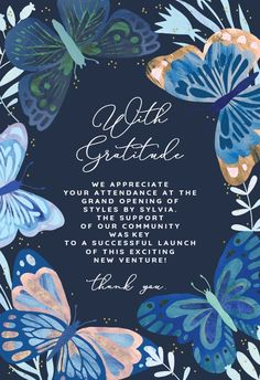 Blue Butterflies - Thank You Card #greetingcards #printable #diy #thankyou #notes #thanks Butterfly Birthday Cards, Butterfly Baby Shower, Blue Butterfly, Housewarming Invitation Templates, Birthday Invitation Templates, Grandparents Day Cards, Free Baby Shower Invitations, New Baby Cards, Butterflies