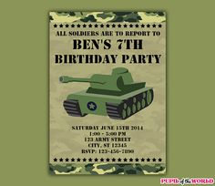 Army Birthday Party Printable Invitation by PupiloftheWorld