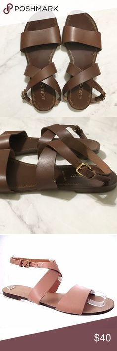 Jcrew leather made in Italy sandal Like new! BEAUTIFUL!! Dark brown sandals by jcrew. Excellent like new condition. Only worn a few times.  7 1/2 made in Italy.  You'll loves these.... perfect for summer! 😍. (Last pic is sample pic showing how strap wraps around ankle). **price firm** J. Crew Shoes Sandals