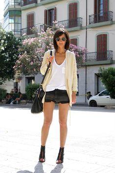 Golestaneh - Street Style: holiday style: denim shorts, oversize tee & oversize blazer