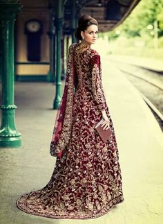Asian Bridal Dress lengha pakistani/india Velvet, Custom Made, Gown