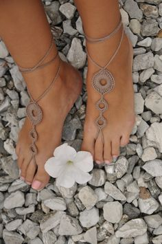 Crochet Barefoot Sandals Nude shoes Foot jewelry by barmine, $10.00 for bridesmaids