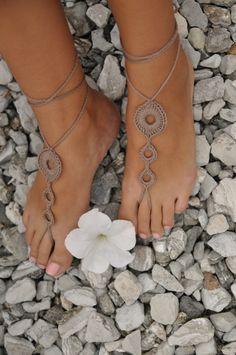 Crochet Tan descalzo sandalias zapatos marrón Nude joyería