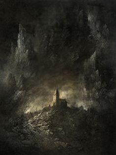 High by Yaroslav Gerzhedovich Creepy Paintings, Creepy Art, Dark Fantasy Art, Dark Art, Nostalgia Art, Saint Nicolas, Macabre Art, Classical Art, Fantasy Landscape