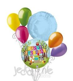 7pc Woodland Friends Happy Birthday Balloon Bouquet Decoration Forest Animal Fox