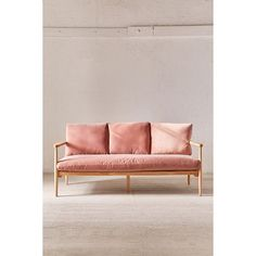 Minna Velvet Sofa ($849) ❤ liked on Polyvore featuring home, furniture, sofas, urban outfitters furniture, mid century style furniture, urban outfitters, mid-century modern furniture and velvet furniture
