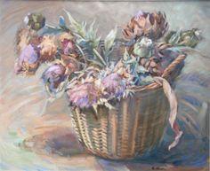 Flor de alcachofa Artichoke Flower, Painting, Flower, Artichokes, Painting Art, Paintings, Drawings