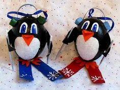 Penguins on Skis Ornaments | AllFreeHolidayCrafts.com