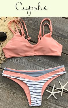 The spaghetti straps attract me. So funny! With a striped bottom, the Straight Strappy Bikini Set is simple and fashion. It is an excellent choice for a beach trip.