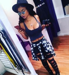 india westbrooks hat sunglasses cleavage mirrored sunglasses plaid shirt black ripped jeans hair accessory